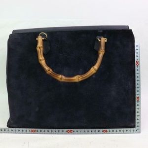 Gucci Bags - Gucci Large Black Suede Bamboo Tote 870576